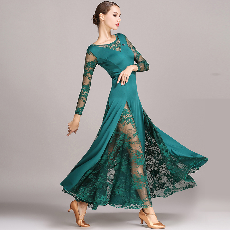 Ballroom Dance Dress Women Lady Waltz Dress Lace Milk Silk Long Sleeve Modern Ballroom Dancing Dress Practice Costumes DN1235