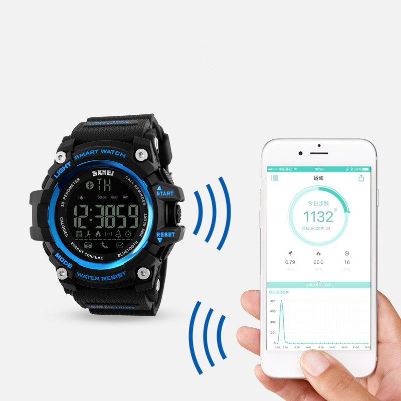 Bluetooth smart step counter reminder watch support ios Android sports electronic watch Remote Camera 50M Waterproof image