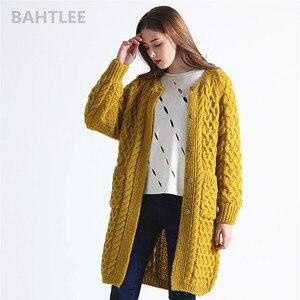 Image 2 - BAHTLEE Winter Long Sleeve Warm Mohair Cardigan Knitting Wool Jacquard Weave Sweater Women O Neck Jumper Pocket Mustard Yellow