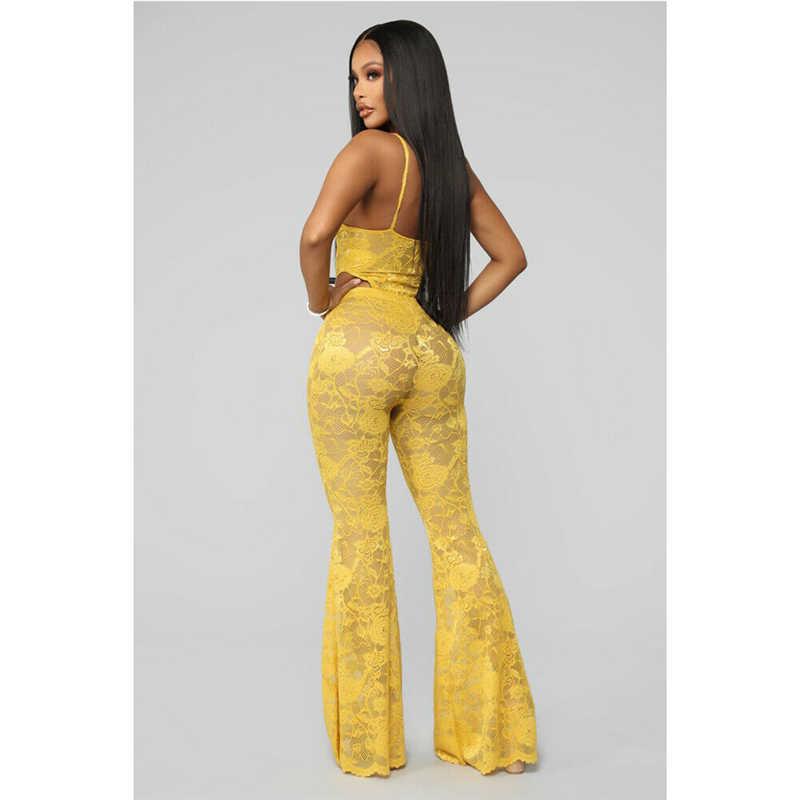 Новые женские сексуальные цветочные кружевные прозрачные комплекты из 2 предметов Летний Комбинезон утягивающий облегающие брюки-клеш Женская модная Клубная одежда для вечеринки костюмы