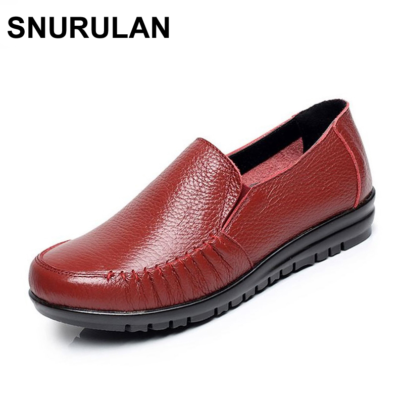SNURULAN Large size EU 43 women loafers leather women flat shoes shallow mouth single shoes breathable mother shoes female loafers new lace mother flat shoes fashion shallow mouth ladies peas shoes tendon casual women leather shoes plus size