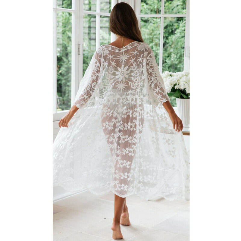 Ladies Lace Cardigan Bikini Cover UP Soild Color Summer Long Monokini Beach Wear Swimwear Kimono Long Maxi Dress