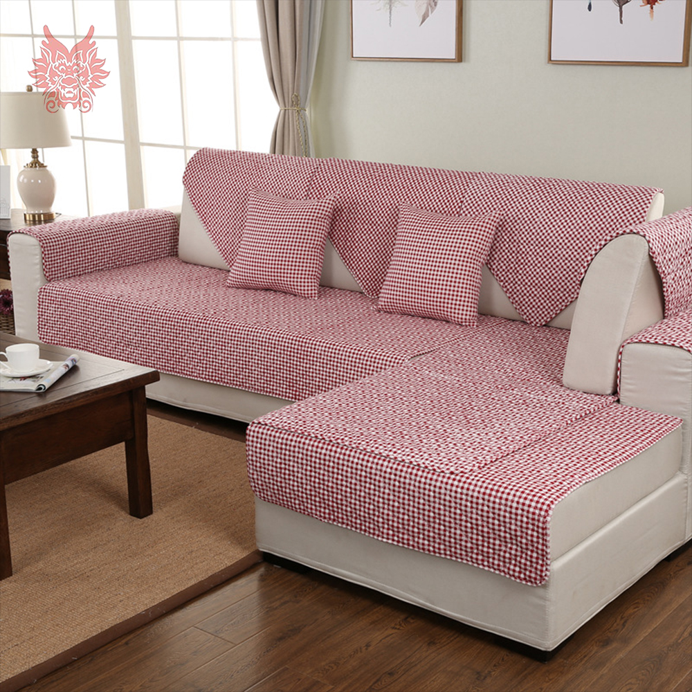 Pastoral coffee pink plaid linen cotton quilting sofa - Plaid para sofa ...