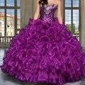 Púrpura Vestidos de Quinceañera Balón vestido 2017 Con Chaqueta de Cuentas de Cristal de Novia Con Gradas Volantes Niñas 15 Años Dulce 16 Vestidos