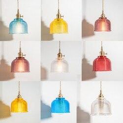 Nordic proste małe żyrandol twórcze restauracja bar bar cafe sypialnia lampki nocne japoński szkło mosiężne LU808863 w Wiszące lampki od Lampy i oświetlenie na
