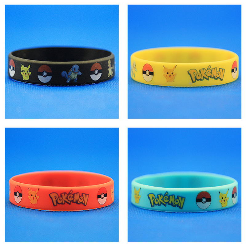 20pcs Fashion Trendy Charms Wristband Pokemon Go Silicone Bracelet Bangles Men 4 Color Rubber Bracelets For Women Souvenir In Charm From