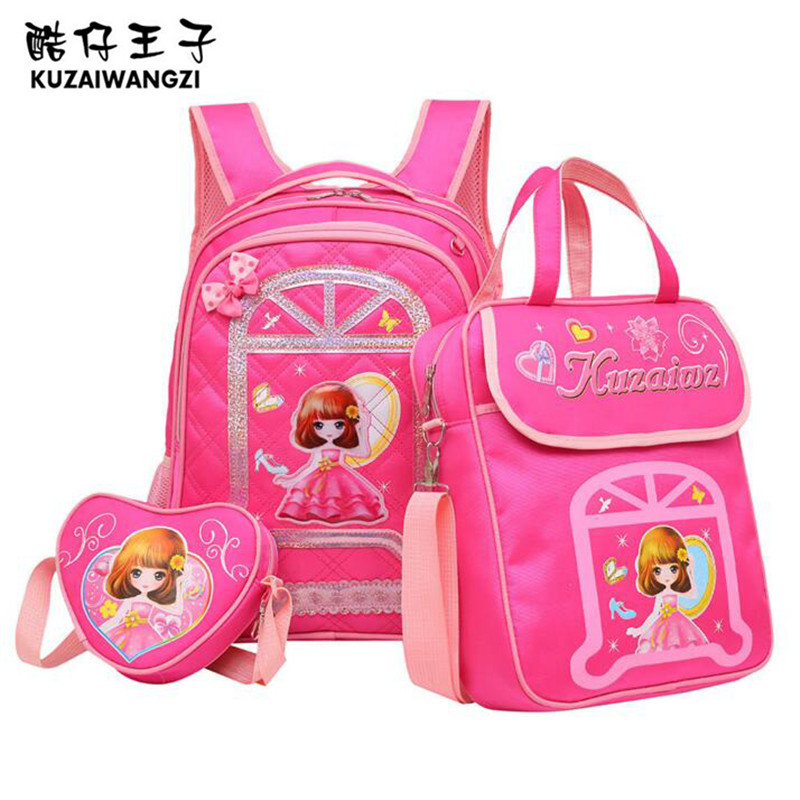 Hot Sale KZWZ Korean School Bag Lovely Princess Backpack Cartoon Composite Bag Fashion Children School Bags Mochila Escolar M368 hot sale 10 style winx club backpack girls mochila escolar children school bag customized mochilas mujer kids free shipping b002