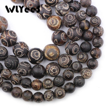 лучшая цена WLYeeS China Tibetan Gray Dzi Eyes Beads Brown Natural Stone Round Loose Bead 8/10/12mm Ball for Jewelry Bracelet Making DIY 15