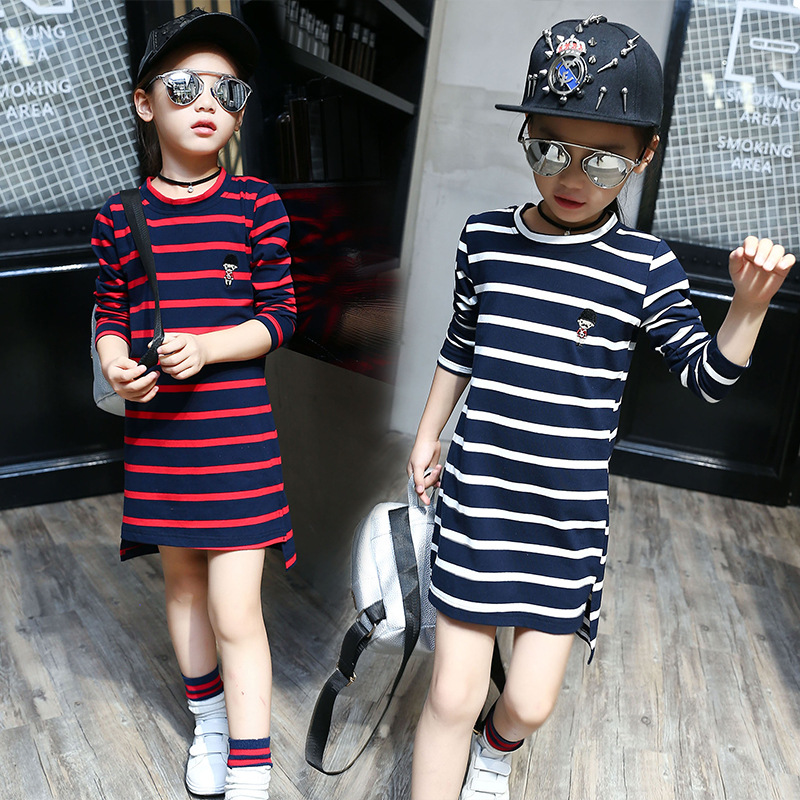 2016 autumn cotton children's kids t-shirts clothes fashion girls long-sleeved tops o-neck stripes long section bottoming shirt