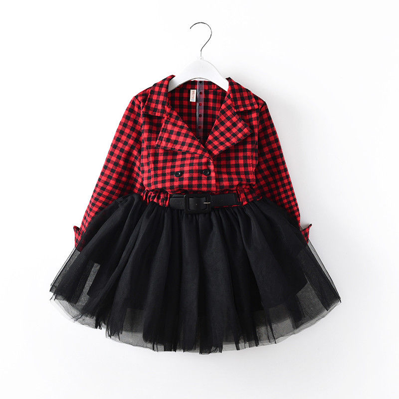 Lovely Baby Kids Girl Long Sleeve Plaids Checked Party Princess Red Dresses Lace Tutu Kids Clothes 2-7Y