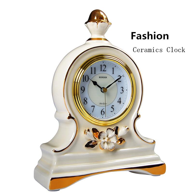 European Ceramics Clock White Livingroom Quartz Watch Clocks Personality Mens Bedroom Gift Clock With Carbon Batteries W051 white ceramics band design mens leisure watch
