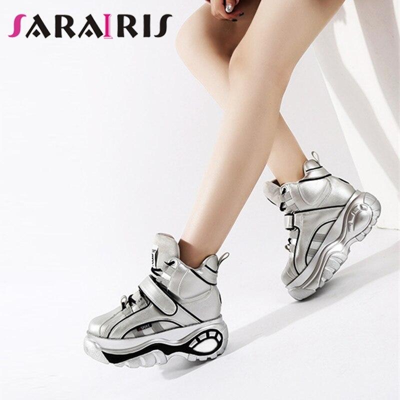 SARAIRIS 2019 printemps automne nouvelle mode microfibre femmes plate-forme baskets à lacets plate-forme chaussures femme hauteur augmentant