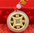 999 24K Yellow Gold & A Grade Natural Jade (Jadeite) Coin Pendant