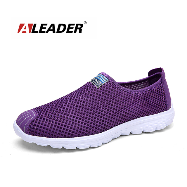 9deb6fa013cf Aleader Women Breathable Walking Shoes 2016 New Summer Sport Running  Sneakers Ladies Mesh Shoes Slip On Beach Water Zapatillias