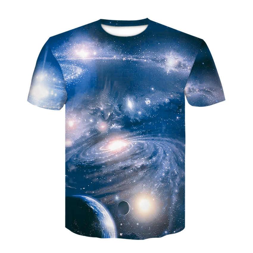 2019 lato styl mężczyzna T koszula 3D drukuj gwiazda Galaxy wszechświat przestrzeń nadruk ubrania dla mężczyzn krótki rękaw koszulki T-shirt M-4XL