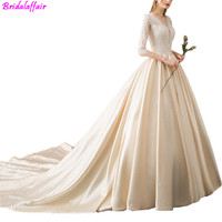 2019 New Style 2019 Thin Bride Gown Half Sleeve V neck Satin Simple White Long Trailing Wedding Dresses vestido de casamento