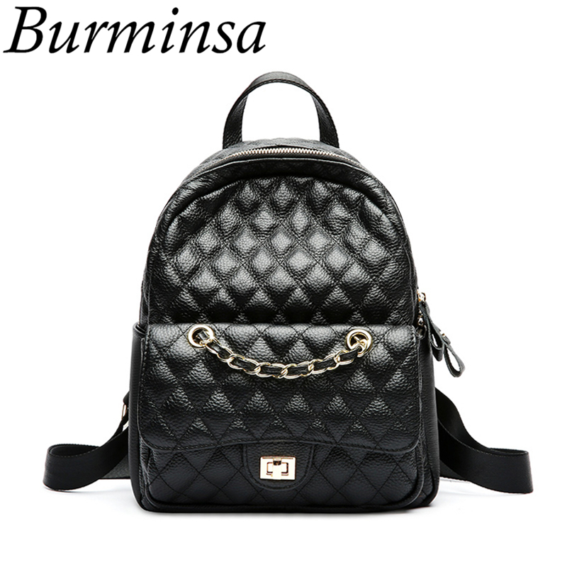 Burminsa 100% Genuine Leather Women Backpack Quilted Black Bagpack Teenage Girls Small Travel Female Shoulder Bags 2018