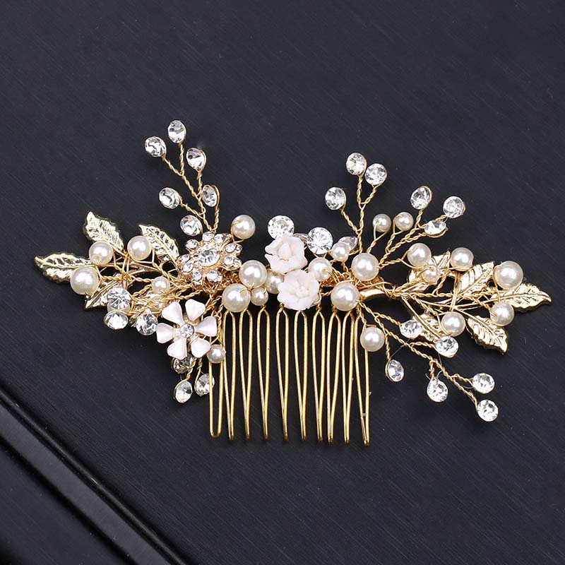 Women Elegant Gold Pearl Rhinestone Hair Combs Leaf