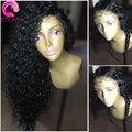 Llena Del Cordón Pelucas de Pelo Humano Para Las Mujeres Negras 8A Brasileño Rizado Pelo de la virgen Pelucas Delanteras Del Cordón Con El Pelo Del Bebé Sin Cola Llena Del Cordón pelucas