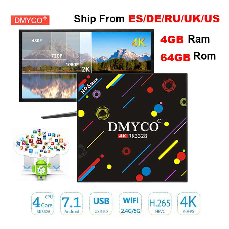 H96 MAX Android 7.1 smart TV box Rockchip RK3328 Quad-core 4GB RAM 64 ROM Support USB3.0 H.265 UHD BT4.1 4K 5G WiFi Set-top box