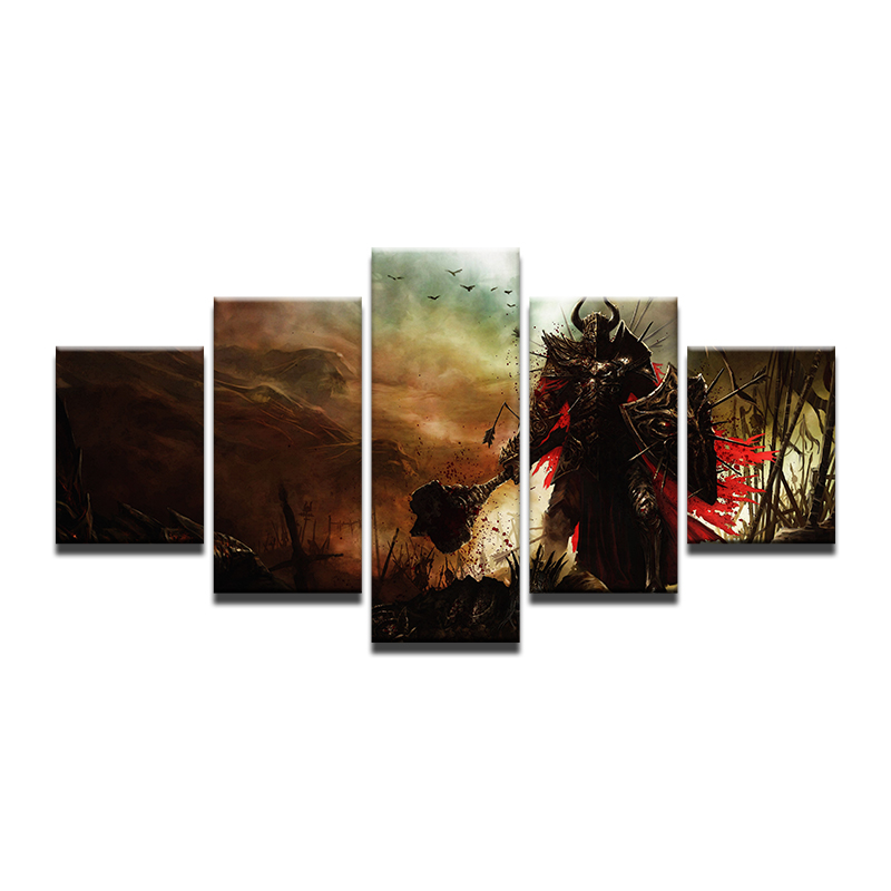 5 Panel Canvas Printed Game Poster Diablo 3 Warrior Home Decor For Living Room Wall Art Canvas Painting Pictures Artwork