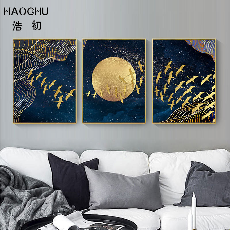 HAOCHU New Chinese Style Golden Moon Bird Abstract Auspicious Art Poster Print Picture Home Decor Wall Sticker Canvas Painting-in Painting & Calligraphy from Home & Garden