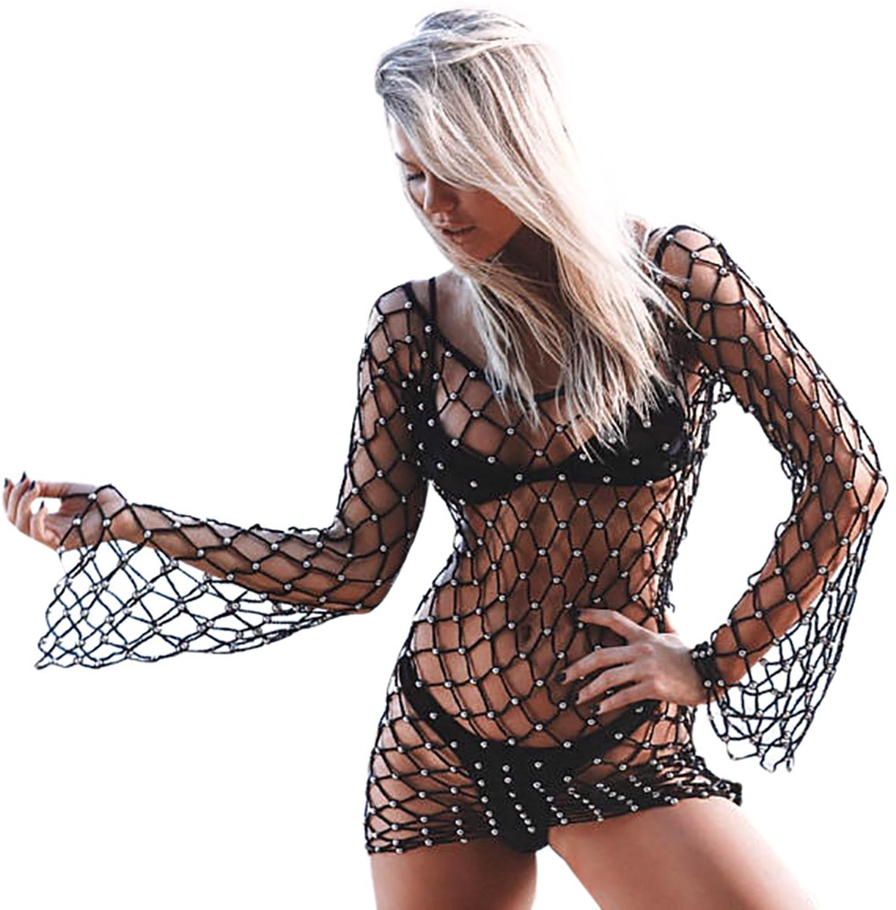 Crochet Mesh Bikini Cover Up Beachwear 2018 Women Sexy Hollow Out Cover Ups Bathingsuit Summer Beach Solid Long Sleeves Swimwear