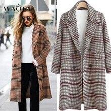 WAQIA Wool Coat Women Plaid Long Coat Long Sleeve Woollen Overcoat Loose Outwear Female Winter Autumn Trench Coats Plus Size 4XL