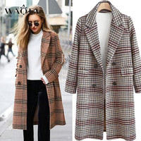 WAQIA Wool Coat Women Plaid Long Coat Long Sleeve Woollen Overcoat Loose Outwear Female Winter Autumn Trench Coats Plus Size 4XL
