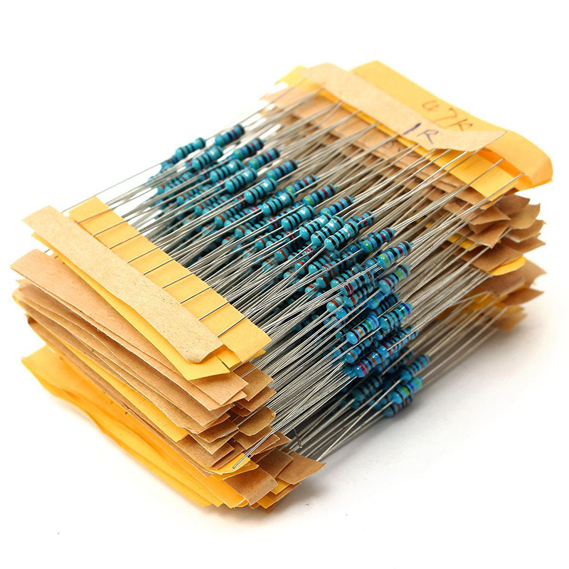 500pcs 50 Values Metal Film Resistors 1/4W 1% 1Ohm-10M Ohm Resistance Components Assortment Kit Mayitr