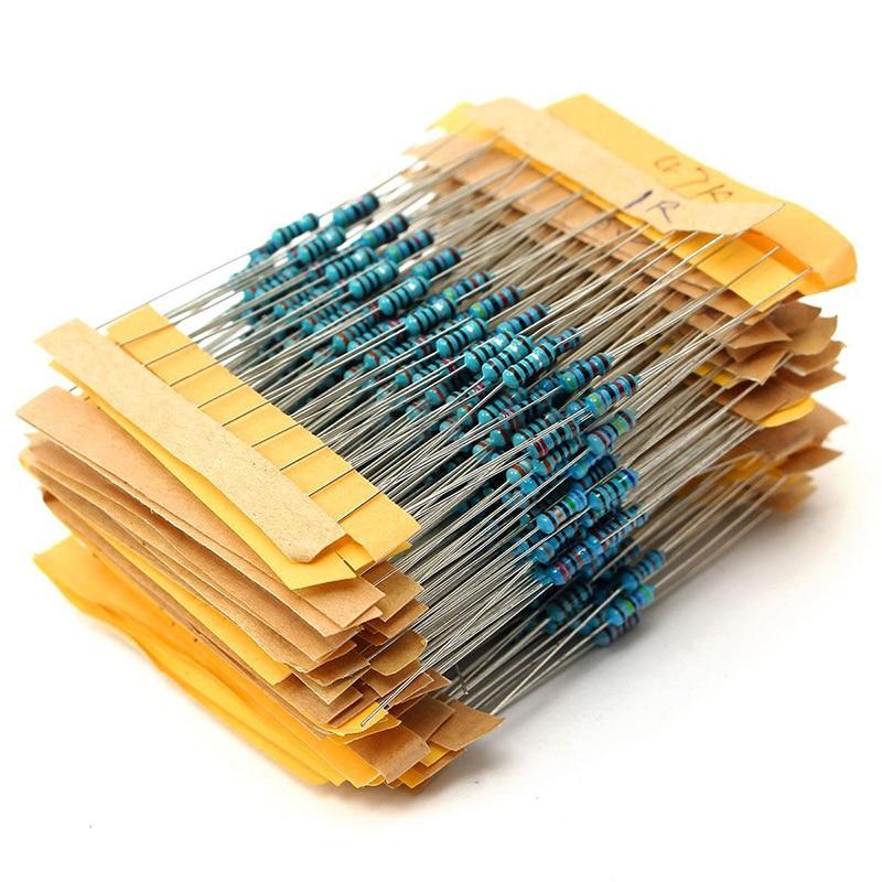 500pcs 50 Values Metal Film Resistors 1/4W 1% 1Ohm-10M Ohm Resistance Components Assortment Kit Mayitr
