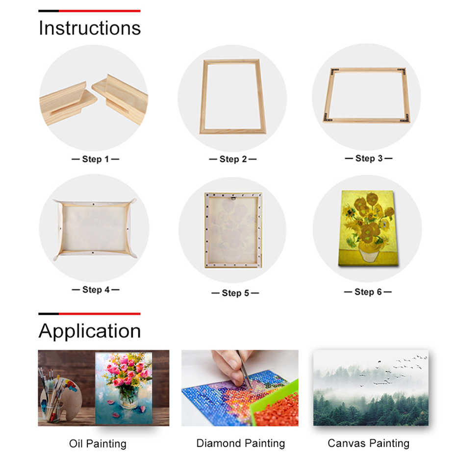 DIY Simple Firm Solid Wooden Picture Frame Inner Photo Paintings Frames Match Cross Stitch for Canvas Wall Art Diamond Painting