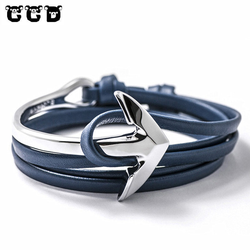 Hot 2017 New Fashion Leather Bracelets & Bangles Multilayer Anchor Bracelet Jewelry For Men Gift Bracelet Hooks Men's Bracelet