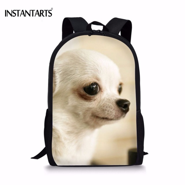 INSTANTARTS Kawaii 3D Dog Chihuahua Printing Boys Girls Schoolbags Casual  Lap Top Backpacks for Teenage School Students Bookbags