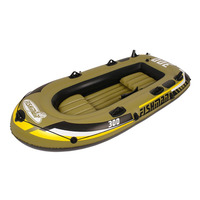 4 Người Cao Su Xuồng Ba Lá Inflatable Chèo Thuyền Thuyền 0.55 mét Dày PVC Thuyền Đánh Cá Với Máy Bơm Và Hợp Kim Nhôm Mái Chèo