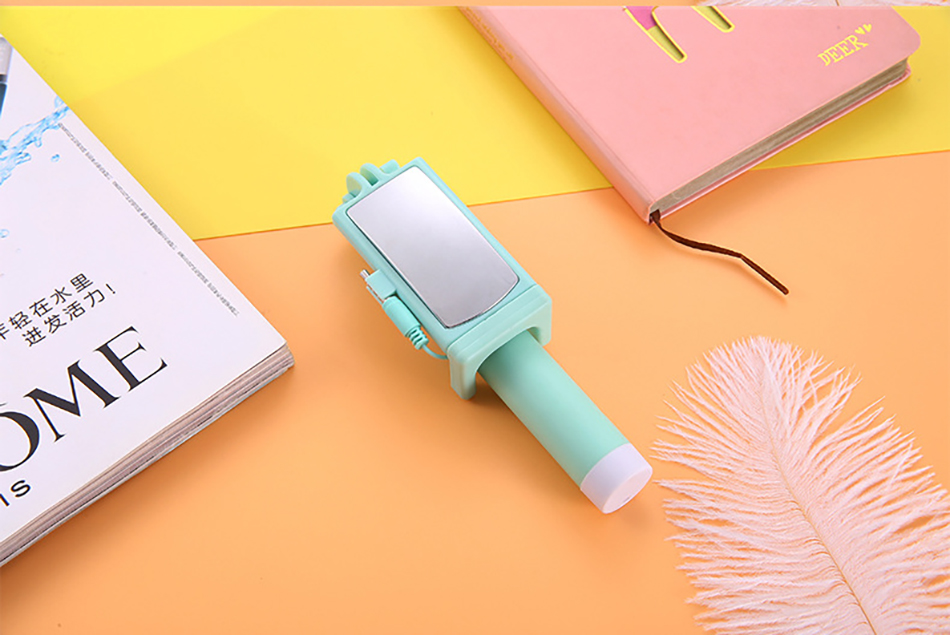 !ACCEZZ Mini Wired Selfie Stick IOS For iPhone X XR XS MAX 8 7 6 For Huawei Samsung Monopod Foldable Portable Selfiestick Mirror (21)