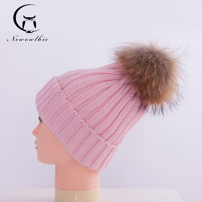 Női kalap Őszi téli 100% valódi mosómedve szőrme sapka kötött - Ruházati kiegészítők