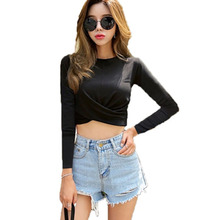 vetement femme 2019 Tshirts Cotton Women Clothes T-Shirt Sexy long sleeve crop top Casual T Shirt Female Korean Womens Tops
