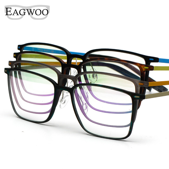 EAGWOO EMS Pure Titanium Eyeglasses Girl Men Full Rim Optical Frame Prescription Spectacle Square Myopia Eye Glasses 890022