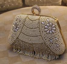 Wedding bride handbag Party diamonds tassel pearl evening bag patchwork striped bag lady European style ring handbag