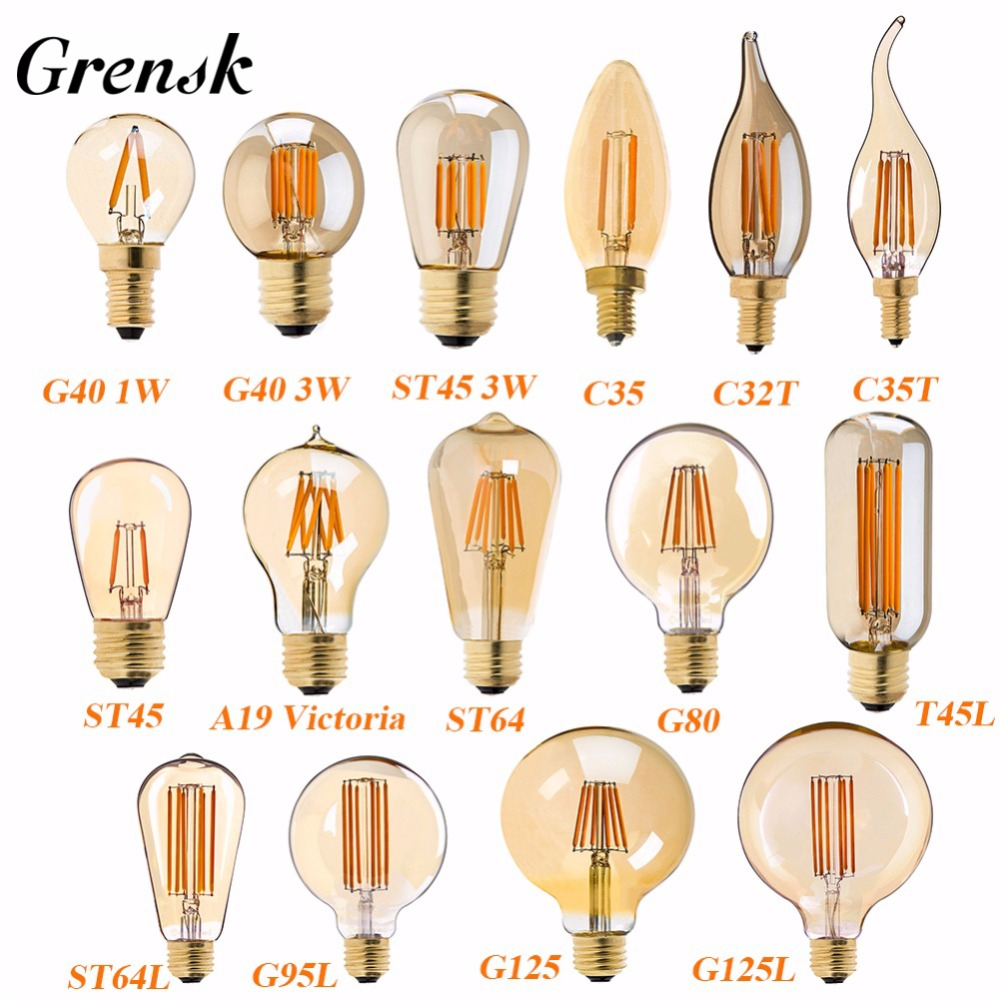 E27 LED Lamp Dimmable Filament Bulb E14 220V Gold 1W 3W 4W 6W 8W E12 E26 110V Edison Retro LED Light Bulbs 2200K G40 String Bulb