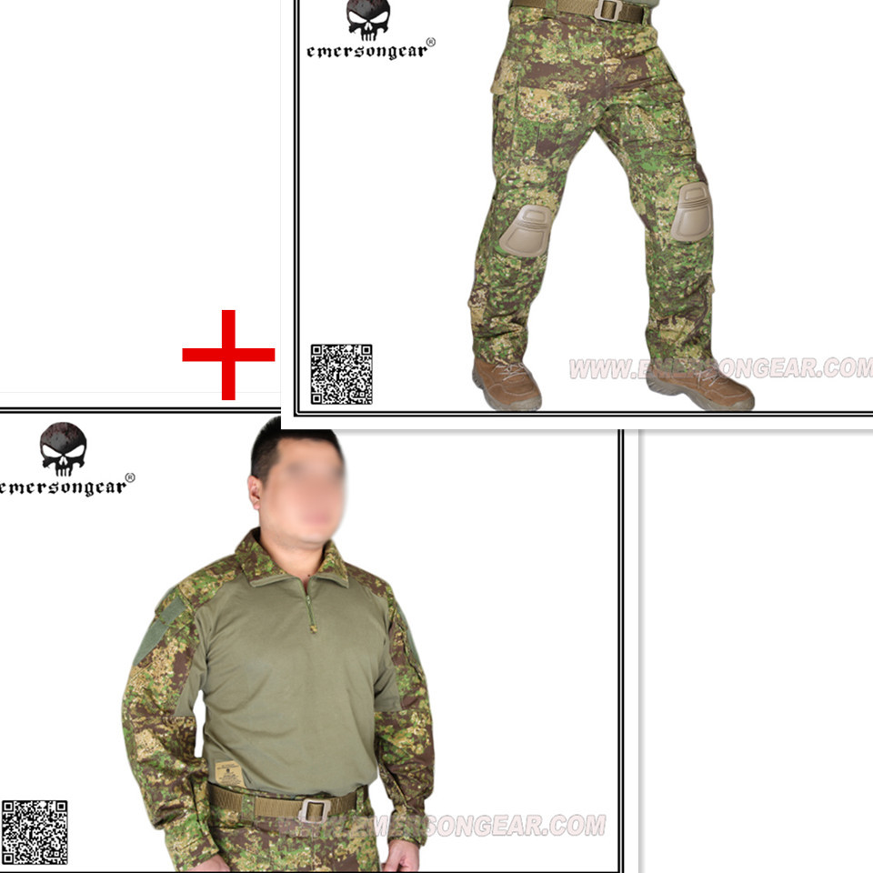 Emerson bdu G3 Combat uniform shirt & Pants & knee pads Airsoft Military Army uniform Greenzone GZ EM9244+7039 emerson military army uniform combat uniform gen2 marpat woodland em6913