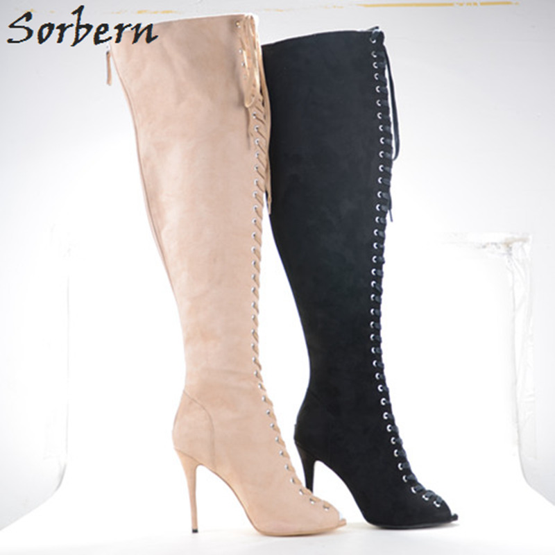 Sorbern Thin High Heels Lace-up Front Peep Toe Over the Knee Boots Women Custom Plus Size 33-26 Spring Shoes Ladies 2018 New все цены