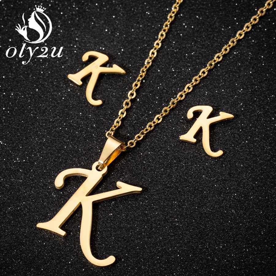Oly2u Gold Necklace Jewelry Sets For Women Stainless Steel Letter Pendant Necklace Stud Earrings femme Weeding Jewellery Set
