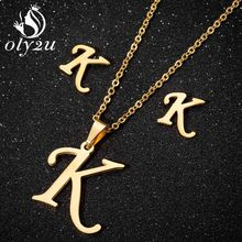 Oly2u Gold Necklace Jewelry Sets For Women Stainless Steel Letter Pendant Necklace Stud Earrings femme Weeding Jewellery Set(China)