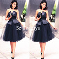 Vogue Bandage Little Black Dresses Cocktail Puffy Ball Gown 2016 Strapless Tulle Lace Up Knee Length Party Dress Vestido