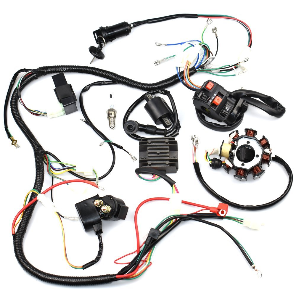 Complete Wiring Harness kit Wire loom Electrics Stator Coil CDI For ATV QUAD  4 Four wheelers 150CC 200CC 250CC Go Kart Dirt Pit Bikes 1