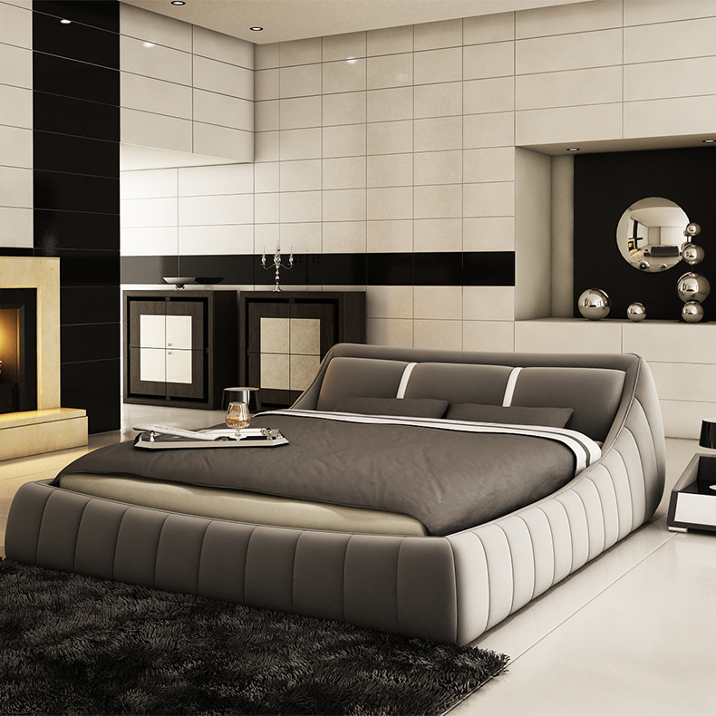 modern soft bed bedroom fruniture leather soft 1 8. Black Bedroom Furniture Sets. Home Design Ideas