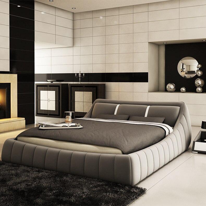 Moderne Weiche Bett schlafzimmer fruniture leder weiche 1,8 kingsize bett fabrik