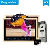 Dragonsview 10 Inch AHD Video Intercom Door Bell 960P 1.3MP HD IR Camera Wide Angle Video Door Phone 2 Monitors 1 Doorbell